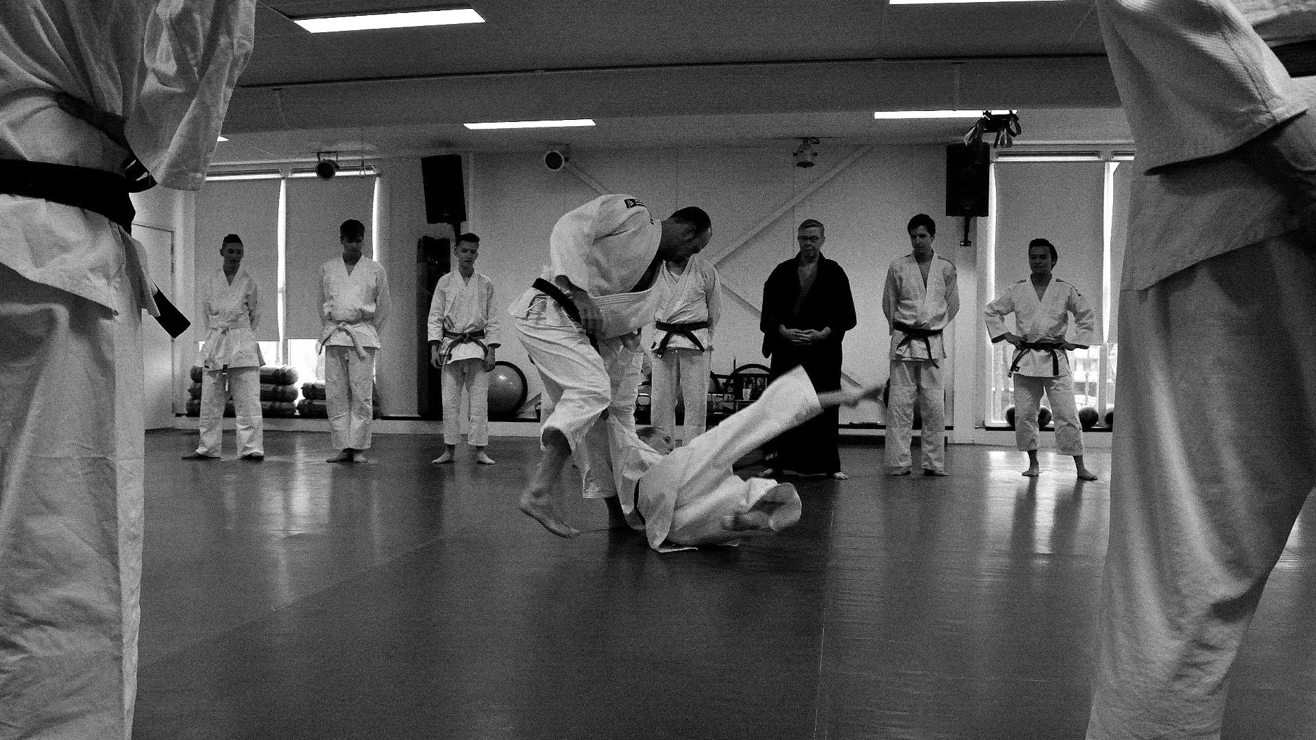 jiu-jitsu demonstratie worp